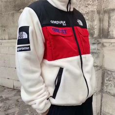 Supreme x TNF Expedition Fleece Jacket Supreme Clothing, Supreme Hoodie, Motorcycle Jacket, The North Face, Hoodies, Stranger Things, Bullet, Jackets, Shirts