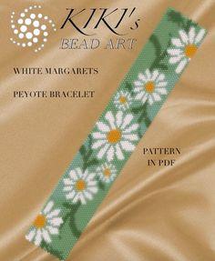 Pattern, peyote bracelet - White margarets flower garden peyote bracelet cuff pattern in PDF - instant download by KikisBeadArts on Etsy https://www.etsy.com/ca/listing/279978660/pattern-peyote-bracelet-white-margarets