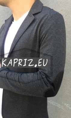 Спортно елегантно мъжко сако с кръпки на лактите в тъмно сив цвят.