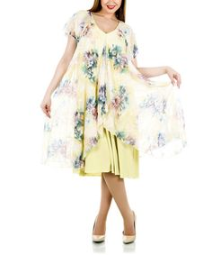 Look what I found on #zulily! Yellow Floral Layer V-Neck Shift Dress - Plus by La Mouette #zulilyfinds