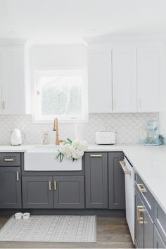 My White & Gold Kitchen with Cafe Appliances Check out my white and gold cozy coastal kitchen and my Farmhouse Kitchen Cabinets, Kitchen Cabinet Colors, Kitchen Redo, Home Decor Kitchen, Home Kitchens, Dark Grey Kitchen Cabinets, Coloured Kitchen Cabinets, Smeg Kitchen, Two Tone Kitchen Cabinets