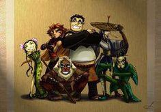 12 personnages de dessins animés dessinés sous forme humaine