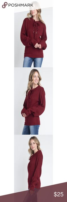a9cff067e3 Women s Criss Cross Lace Up Pullover (Wine) This trendy sweater features a criss  cross