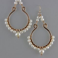 Hand-formed and hammered Bronze Chandelier Earrings with gemstones and pearls Bronze Jewelry, Pearl Jewelry, Wire Jewelry, Beaded Jewelry, Jewelery, Rock Jewelry, Wire Wrapped Earrings, Beaded Earrings, Earrings Handmade