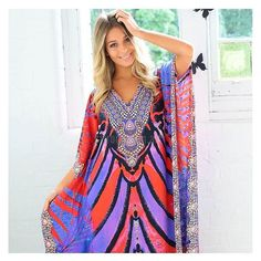 How stunning is the @rubyyayafashion 'Ottowa Maxi Kaftan'! Bright bold and totally out there! It's a must have this season! shop it now at shop.stfrock.com.au #stfrock #rubyyaya #kaftan #bright #bold #embellished #summer