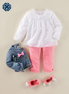 Eyelet lace, bows & pink – some things never change! This modern take on classic style is super soft for your Baby B'gosh girl with French terry pants. This pint-sized denim jacket has a baby-friendly neckline, too. (Psst… We're going ga ga over these tin Baby Outfits, Outfits Niños, Toddler Outfits, Kids Outfits, Baby Kind, Cute Baby Girl, Baby Love, Little Girl Fashion, Kids Fashion