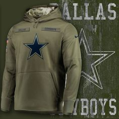 Dallas Cowboys 2018 Salute To Service USA Sideline Therma Fleece Pullover  Hoodie 5a49b5e22