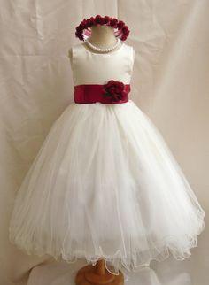 Flower Girl Dresses - IVORY with Red Apple (FD0FL) - Wedding Easter Junior Bridesmaid - For Children Toddler Kids Teen Girls