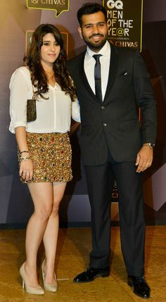 Cricketer Rohit Sharma and wife Ritika Sajdeh at GQ Men Of The Year Awards 2015 event. #Page3 #GQAwards #Fashion #Style #Beauty #Hot #Sexy #WAGS