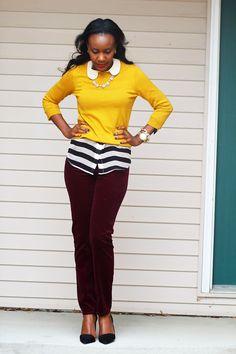 Style Inspiration: Patience's burgundy cords & mustard sweater, from mycercatrova blog.