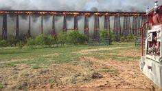 Rail Road bridge fire Colorado River in Lampasas County Texas