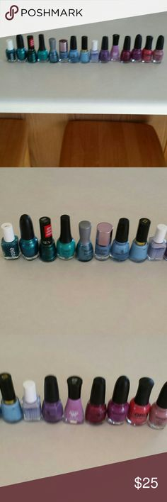 LOTS OF NAIL POLISH! 15 bottles of used nail polish. It looks like the lowest one still has about 3/4 left. The brands are Essie, Sephora by OPI, Revlon, Nubar, Ulta, China Glaze, Orly and Sally Hansen Insta-Dry. Colors range from shades of pinks, purples, blues and greens! 25$ for all! many brands! Other