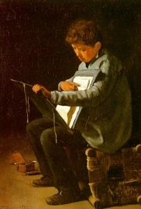 """François Bonvin -  """"Seated Boy with a Portfolio', 1857, oil on canvas, Owner/Location:Unknown  The Athenaeum"""