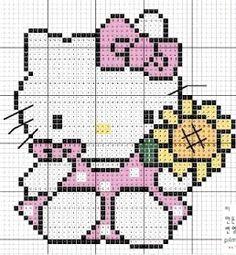 Hello Kitty sunflower hama perler beads pattern