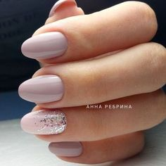 Nude lavender nails with subtle glitter accent. ― re-pinned by Breanna L.