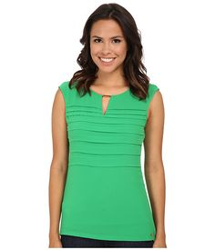 Calvin Klein Calvin Klein  Cap Sleeve Top w Pleat Overlay Fern Womens Sleeveless for 40.99 at Im in! #sale #fashion #I'mIn