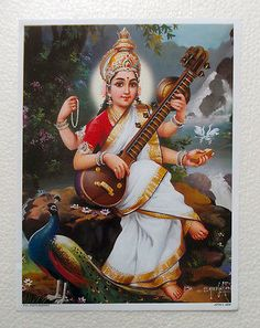"☀ SARASWATI DEVI ॐ ☀ ""The Lord is very satisfied with His devotee when the devotee greets other people with tolerance, mercy, friendship and equality. Ganesha Art, Krishna Art, Hindu Deities, Hinduism, Saraswati Picture, Gaia, Saraswathi Pooja, Lord Murugan Wallpapers, Saraswati Goddess"