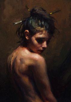 """Portrait Study 2"" - Jeremy Mann, 2013 {contemporary artist figurative beautiful female head woman face posterior back painting detail} <3 Solemn !!"