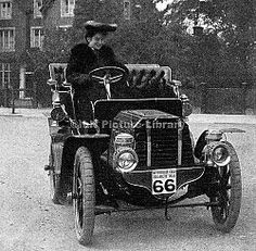 Dorothy Levitt and the 12 hp Gladiator car she drove in a series of reliability trials in 1903