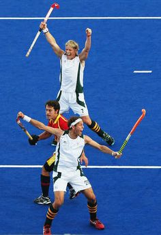 Justin Reid-Ross of South Africa celebrates after scoring during the Men's Hockey match between South Africa and Spain on Day 7 of the London 2012 Olympic Games at Riverbank Arena Hockey Centre on August 3, 2012 in London, England. (Photo by Daniel Berehulak/Getty Images)
