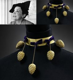 Elsa Schiaparelli, Pagan Collection, Fall 1938, pine cone necklace.