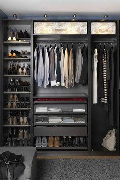 ideas for bedroom storage wardrobe closet organization ikea pax Mens Closet Organization, Small Closet Storage, Ikea Closet Organizer, Bedroom Closet Storage, Wardrobe Storage, Closet Shelves, Bedroom Wardrobe, Wardrobe Closet, Organization Ideas
