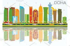 #Doha #Skyline with #Color #Buildings by Igor Sorokin on @creativemarket