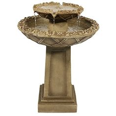 Sunnydaze Beveled Flower 2Tier Birdbath Water Fountain 28 Inch Tall *** Be sure to check out this awesome product.