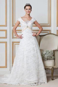 TBDress - TBDress Floor-length Short-Sleeves Lace A-line/Princess Sandras Wedding Dress - AdoreWe.com