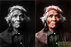 Wyemah, Taos Indian, Edward S. Curtis, Colorized The Library of Congress,