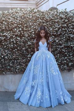 Wonderful Off-the-shoulder Ball Gown Prom Gowns,Formal Evening Dresses,Blue Prom Dresses With Lace Appliques,Long Prom Dresses With Pocket,Quinceanera Dresses Quince Dresses, Prom Dresses Blue, Pretty Dresses, Beautiful Dresses, Formal Dresses, Formal Prom, Wedding Dresses, Beaded Dresses, Chiffon Dresses
