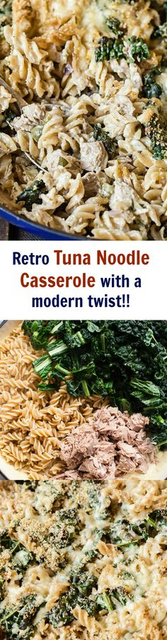 This retro Tuna Noodle Casserole with all the modern updates like wine and caper cream sauce as well as kale is far from boring