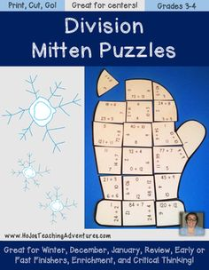 The Winter Math Centers Division Mitten Puzzles make it quick and easy for teachers to provide hands on activities that meet the needs of all students! These three puzzles are engaging, hands-on, and fun!Want to save some money AND have division math center puzzles for the entire school year?