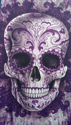 Purple Calavera Skull art poster for Dia de los Muertos Sugar Skull Tattoos, Sugar Skull Art, Sugar Skulls, Sugar Skull Meaning, Candy Skulls, La Muerte Tattoo, Tattoo Crane, Halloween Imagem, Los Muertos Tattoo