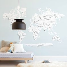 """""""Beautiful World Map"""" - Kids Non-custom Wall Murals by Jessie Steury in beautiful frame options and a variety of sizes. Map Nursery, Nursery Wall Murals, Kids Wall Murals, Custom Wall Murals, Removable Wall Murals, Mural Wall Art, Wall Collage, Bedroom Wall, Nursery Ideas"""