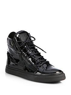 Giuseppe Zanotti Patent Double Zip High-Top Sneakers