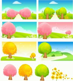 Cute cartoon picture Mito Vector trees