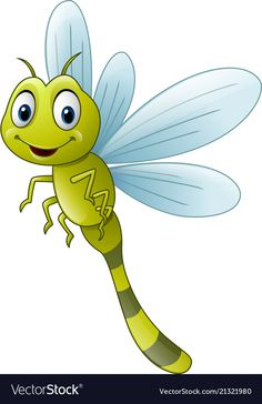 Cartoon dragonfly flying green smile vector image on VectorStock Art Drawings For Kids, Drawing For Kids, Cartoon Pics, Cute Cartoon, Stone Painting, Painting & Drawing, Inkscape Tutorials, Cute Cat Memes, Pottery Painting Designs