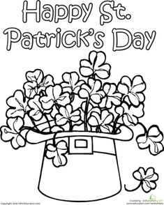 St. Patrick's Day Second Grade Holiday Worksheets: Clover Coloring Page