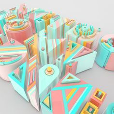 3D typography Building Characters on Behance