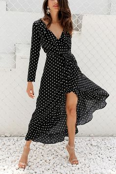 Simplee Autumn long sleeve polka dot ruffle wrap dress Women v neck split maxi dress vestidos Summer beach black long dress New arrival 2017 summer style women long sleeve v-neck ruffle maxi dresses long sleeve maxi dresses plus size Vestidos Sport, Dress Vestidos, Spring Dresses Casual, Summer Dresses, Dresses Dresses, Dress Casual, Trendy Dresses, Dresses Online, Trendy Outfits