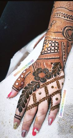 For mehndi order bookings and classes contact 09833887817 Latest Simple Mehndi Designs, Latest Bridal Mehndi Designs, Full Hand Mehndi Designs, Modern Mehndi Designs, Mehndi Designs For Fingers, Latest Mehndi Designs, Wedding Henna Designs, Henna Tattoo Designs Arm, Floral Henna Designs