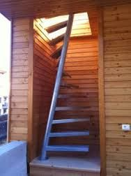 Attic stairs or space saving stairs? A perfect beautiful compact staircase solution, check out more information and our gallery for stairs for small spaces Open Stairs, Attic Stairs, House Stairs, Attic Floor, Garage Attic, Floating Stairs, Attic House, Attic Rooms, Attic Playroom