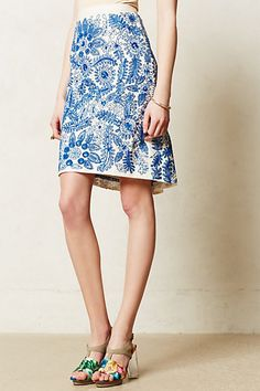 Blue China Embroidered Bleuet Pencil Skirt #anthropologie $70 Gorgeous!