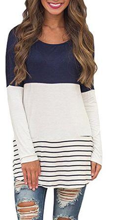 627e738a7e4b Chvity Women's Back Lace Color Block Tops Long Sleeve T-shirts Blouses (S,