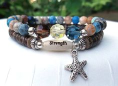 Strength Bracelet Inspiration Bracelet Starfish by BlueStoneRiver, $31.95