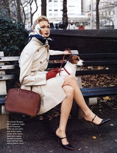 classic, hermes scarf, photo by patrick demarchelier. I like this look, minus the doggie in the city. No dogs in city please. Patrick Demarchelier, Estilo Preppy, Head Scarf Tying, Parisienne Chic, Weekly Outfits, Mode Vintage, Vintage Hats, Fashion Week, Style Fashion
