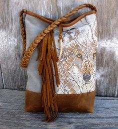 Wilderness Collection Leather Fringe Bag with Amazing Needlepoint Wolf by Stacy Leigh