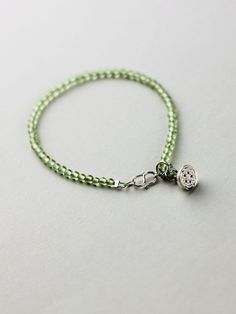 Sterling Silver Peridot Beaded Anklet Handmade Jewelry Accessories Women beautiful