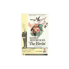 THE BIRDS, from left, Alfred Hitchcock, Jessica Tandy (illustration),... ($25) ❤ liked on Polyvore